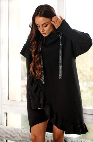 Sportowa sukienka z falbanami czarna