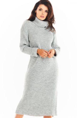 Ciepła sukienka z golfem szara