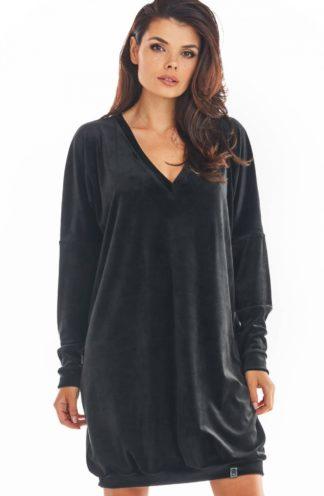 Welurowa sukienka z dekoltem czarna