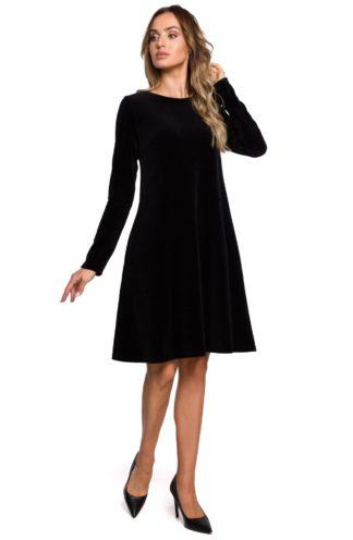 Trapezowa sukienka z weluru czarna