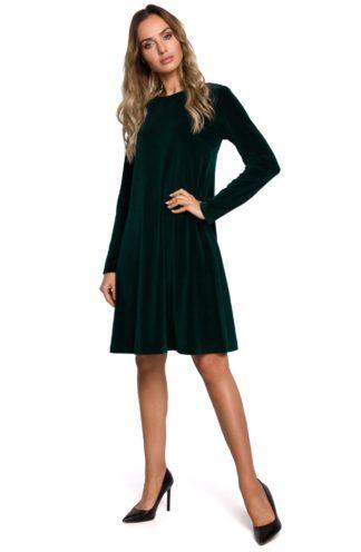 Trapezowa sukienka z weluru zielona