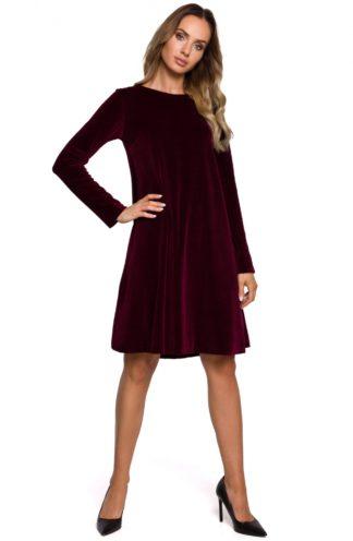 Trapezowa sukienka z weluru bordowa