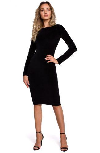 Dopasowana sukienka z weluru czarna