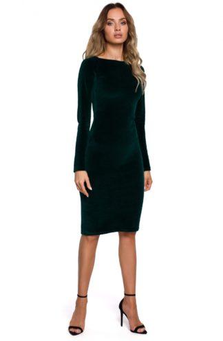 Dopasowana sukienka z weluru zielona