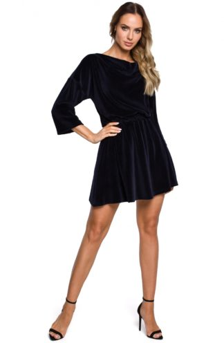 Mini sukienka welurowa granatowa