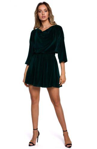 Mini sukienka welurowa zielona