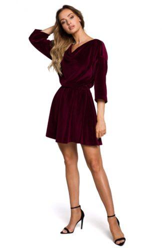 Mini sukienka welurowa bordowa