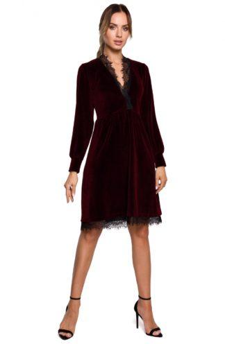 Welurowa sukienka z koronką bordowa