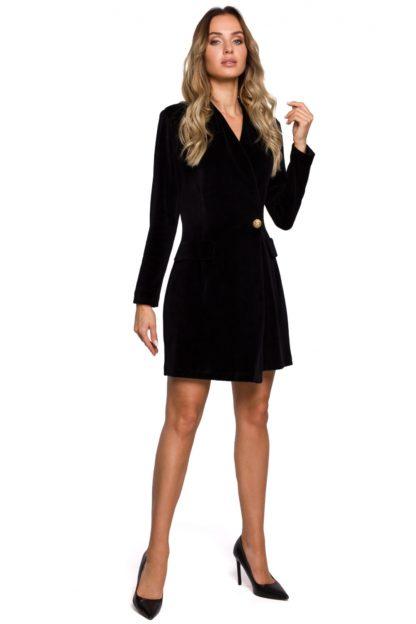 Sukienka żakietowa z weluru czarna