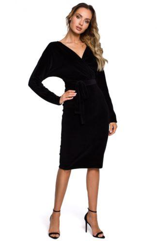Welurowa sukienka z luźną górą czarna