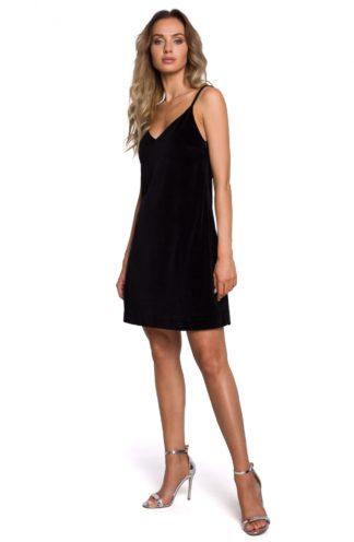 Mini sukienka na ramiączkach z weluru czarna