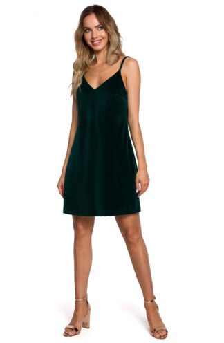 Mini sukienka na ramiączkach z weluru zielona