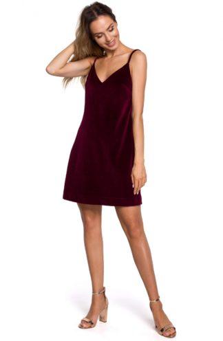 Mini sukienka na ramiączkach z weluru bordowa