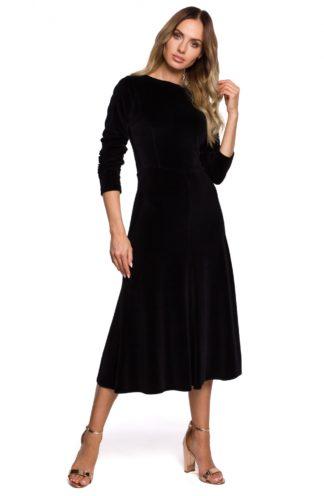 Rozkloszowana sukienka z weluru czarna