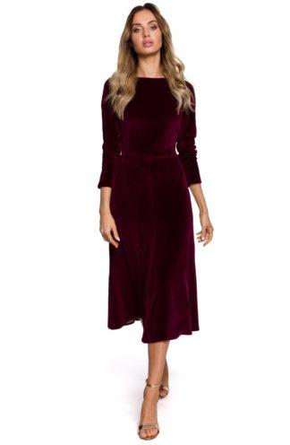 Rozkloszowana sukienka z weluru bordowa