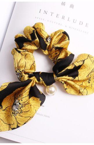 Gumka do włosów z perłą żółto-czarna