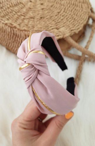 Opaska do włosów różowa ze złotem