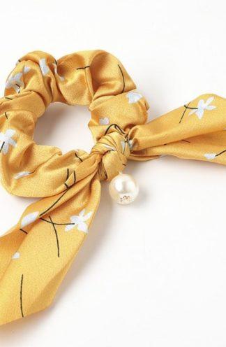 Gumka do włosów z perłą żółta