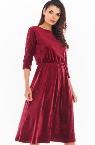 Welurowa sukienka midi z rękawami bordowa