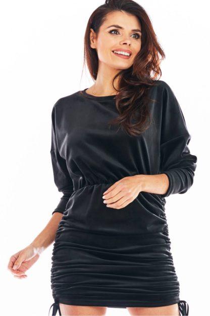 Welurowa sukienka z ściągaczami czarna