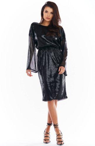 Cekinowa sukienka z łańcuszkiem czarna