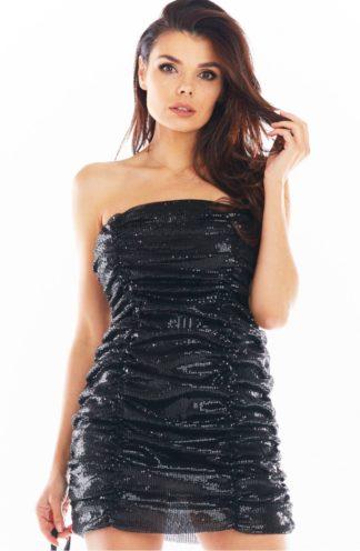 Mini sukienka z cekinów bez rękawów czarna