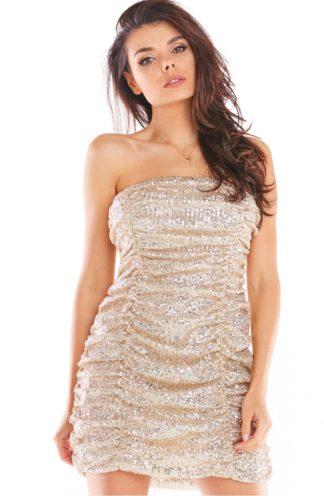 Mini sukienka z cekinów bez rękawów beżowa
