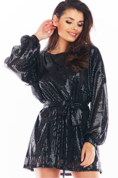 Cekinowa sukienka z wiązaniem czarna