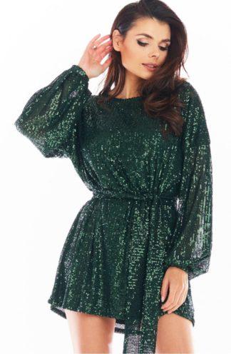 Cekinowa sukienka z wiązaniem zielona