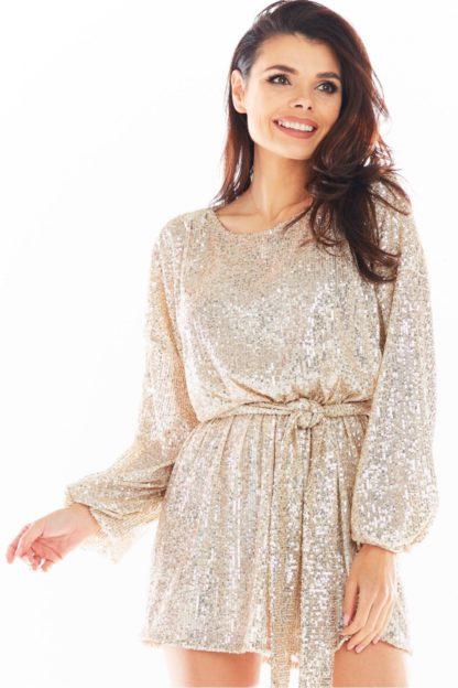 Cekinowa sukienka z wiązaniem beżowa