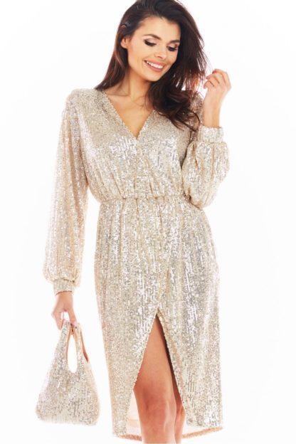 Cekinowa sukienka midi beżowa