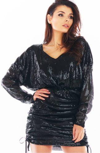 Mini sukienka z cekinów czarna