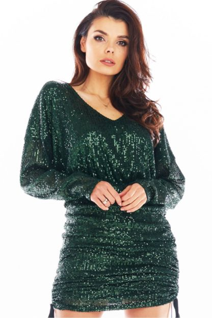 Mini sukienka z cekinów zielona
