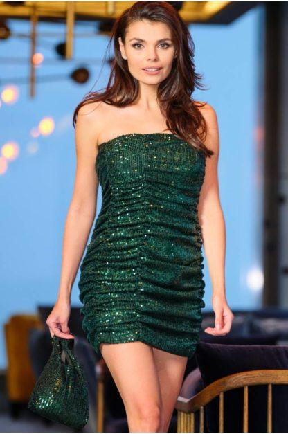 Mini sukienka z cekinów bez rękawów zielona