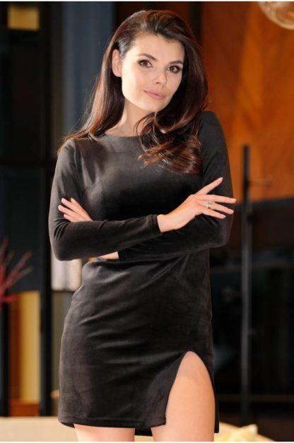 Welurowa mini sukienka z rękawem czarna