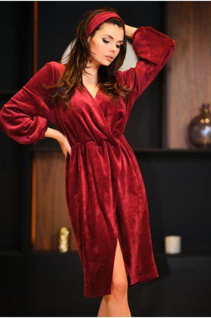 Welurowa sukienka midi bordowa