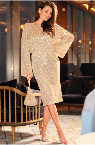 Cekinowa sukienka z łańcuszkiem beżowa