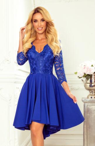 Sukienka na wesele z koronką niebieska