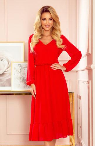 Szyfonowa sukienka midi z rękawami czerwona