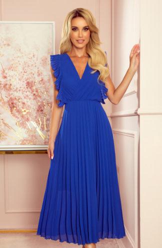 Elegancka plisowana sukienka midi chabrowa