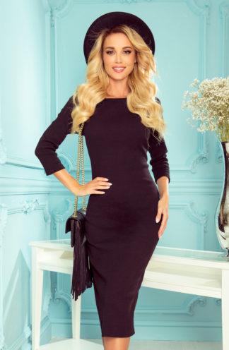 Prążkowana sukienka midi czarna