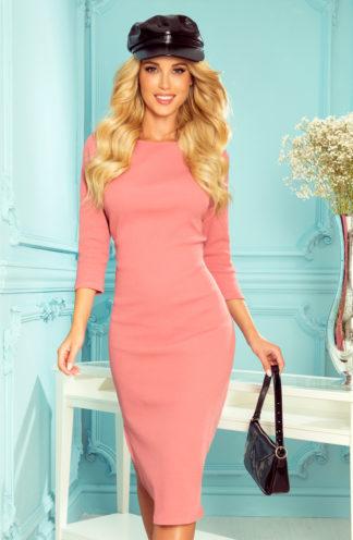 Prążkowana sukienka midi różowa