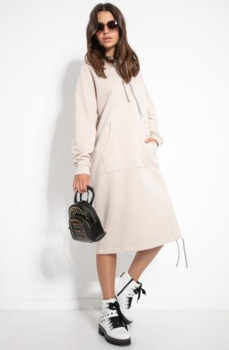 Długa dresowa sukienka z kapturem