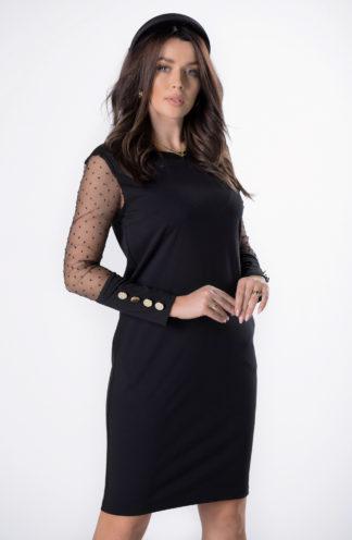 Dopasowana sukienka z tiulowymi rękawami w groszki