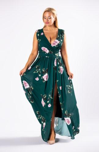 Elegancka sukienka maxi w kwiaty
