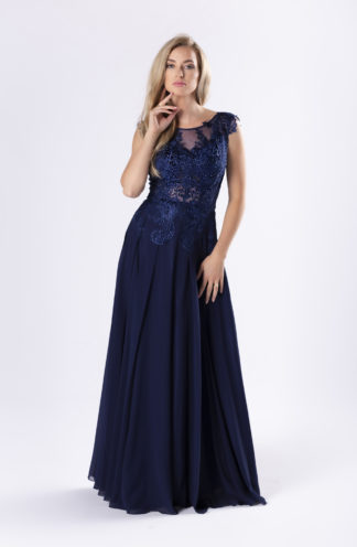 Suknia maxi z gipiurową górą