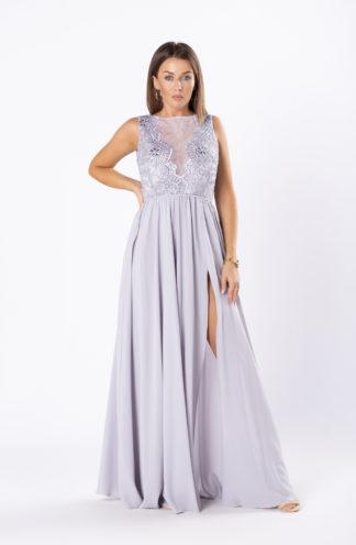 Suknia maxi z tiulową wstawką