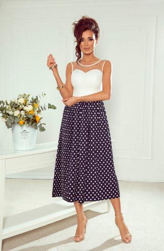 Sukienka midi z plisowanym dołem w grochy