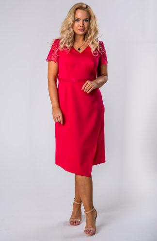 Dopasowana sukienka z koronkowymi rękawami czerwona