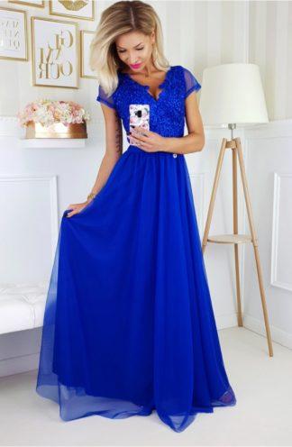 Długa suknia z ozdobnym dekoltem i rękawkiem chabrowa